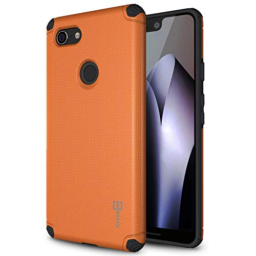 Metro Cover Plate - CoverON Bios Series Google Pixel 3 XL Case, Minimalist Thin Fit Protective Hard Phone Cover with Embedded Metal Plate for Magnetic Car Mounts for Google Pixel 3 XL - Orange/Black