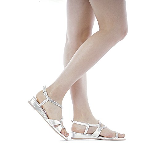 DREAM PAIRS Women's Formosa_1 Silver Low Platform Wedges Slingback Sandals Size 9 B(M) US by DREAM PAIRS (Image #7)
