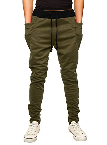 HEMOON Mens Jogging Pants Tracksuit Bottoms Training Running Trousers Green XL