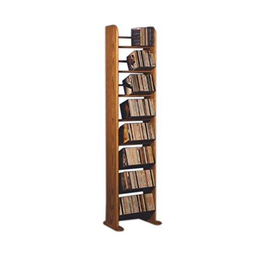 Cdracks Media Furniture Solid Oak 8 Row Dowel Tower CD Rack Capacity 208 CD's Honey Finish