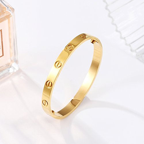Z.RACLE Love Bangle Bracelet Stainless Steel Screw - Best Gift Love - 6.3IN Gold by Z.RACLE (Image #2)'
