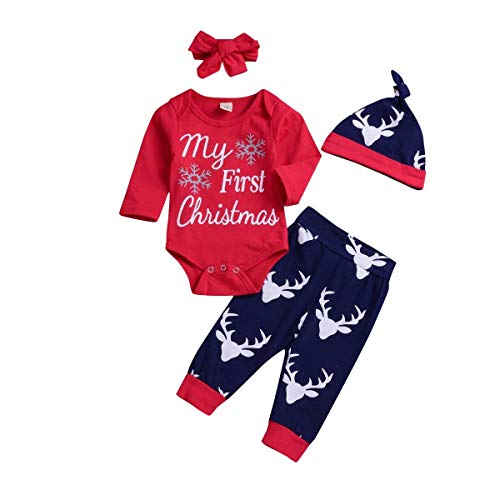 Xmas gift Baby Girl Boy Clothes My 1st Christmas Romper Hat Headband Deer Print Pants Outfit Set (My 1st Christmas Outfit, 0-6 Months)]()
