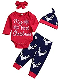 Baby Girl Boy Clothes My 1st Christmas Romper Hat Headband Deer Print Pants Outfit Set