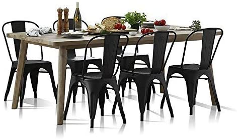 Set of 4 Metal Dining Chairs Indoor Outdoor Stackable Side Chairs Coffee Chair Classic Chic Industrial Vintage
