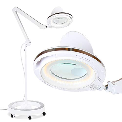 Brightech LightView Pro LED Magnifying Glass Floor Lamp - 6 Wheel Rolling Base Reading Magnifier Light with Gooseneck - for Professional Tasks and Crafts - 2.5x Magnification