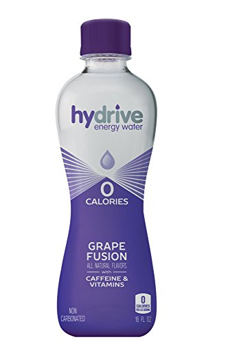 Hydrive Energy Water | Grape Fusion | Sugar Free | Zero Calories | All Natural Flavors | Natural Energy | 16 oz (Pack of 12)