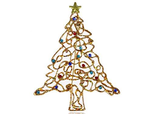 Alilang Golden Tone Holiday Christmas Tree Multi Color Crystal Rhinestone Brooch Pin