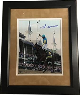 American Pharoah signed 8X10 Photo Custom Framed Suede Mat 2015 Kentucky Derby Horse Racing Triple Crown w/ Victor Espinoza- Ste