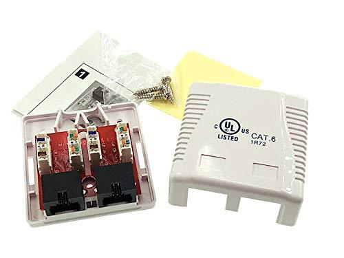 2/x RJ 45/para transferencia de Gigabit Blanco Puro RAL9010, AWG 22/23/24/25/26/tambi/én PoE Power Over Ethernet LAN, Net odedo Cat 6/Gigabit 250/MHz Conector/ /Tapas Caja universal de red