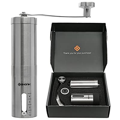 Premium Quality Stainless Steel Manual Coffee Grinder - Portable Burr Coffee Grinder - Conical Ceramic Burr for Precision Brewing - Silicon Lid to Keep Coffee in Container - Lightweight Grinding