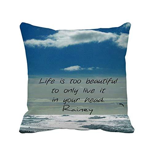 Pillowcase Under The Sea Quotes Cotton Decorative Sofa Pillow Cover 20 X 20inch