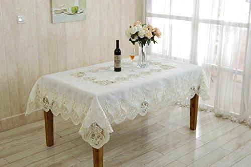 Violet Linen Heritage Embroidered Vintage Lace Design Oblong/Rectangle Tablecloth, 70