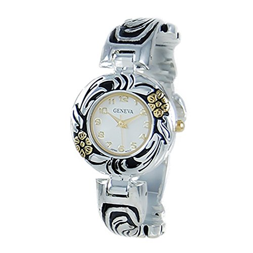 Rosemarie Collections Women's Concho Flower Bangle Cuff Watch (Two Tone)