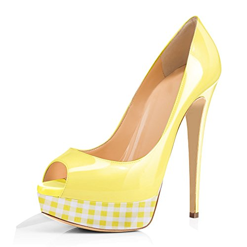 (Joogo Women Peep Toe Pumps Platform Thin Heel Stiletto Sandals Wedding High Heels Slip On Dress Shoes Yellow Patch Plaid Size)