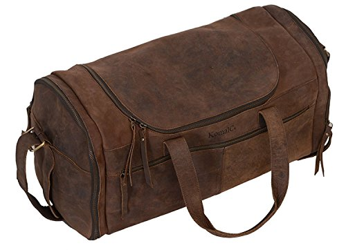 KomalC 21 inch U Zip Duffel Travel Sports Overnight Weekend Leather Bag for Gym Sports Cabin by KomalC