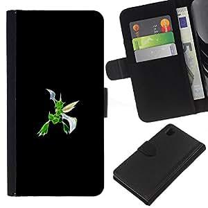 Protector de cuero de la PU de la cubierta del estilo de la carpeta del tirón BY RAYDREAMMM - Sony Xperia Z1 L39 - Scyther P0kemon