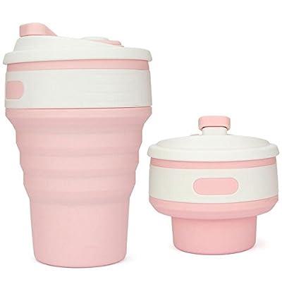 TTYY Bouteilles de voyage pliables en silicone étanche portable extérieur sport bouteille d'eau Camping randonnée course , Pink