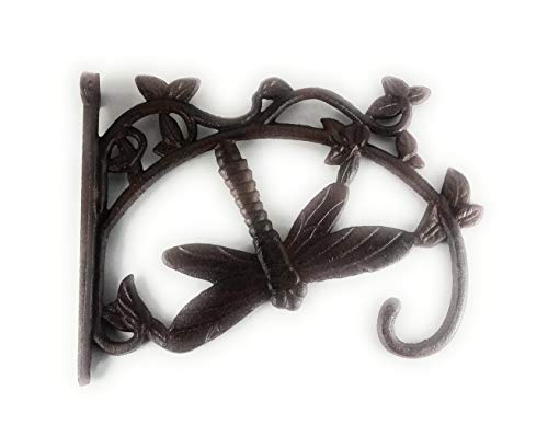 Aunt Chris Products - Large Cast Iron Basket Hanger - Dragonfly On Ivy - Scroll Work Design - Rustic Bronze - Indoor or Outdoor Use