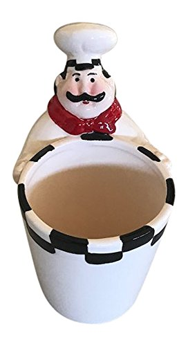 Chef Utensil Holder (Chubby Chef Ceramic Utensil Holder)