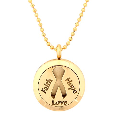 (Gold Cancer Awareness Ribbon Faith Hope Love Aromatherapy Essential Oil Diffuser Locket Pendant Jewelry Gift Set with 20
