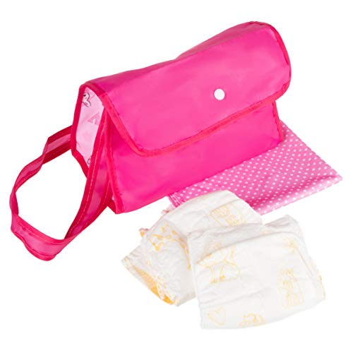 Hey! Play! Baby Doll Diaper Bag- Pretend Play Changing Set with Blanket, Reusable Diapers & Pink Nylon Tote for Clothes, Bottles & Accessories