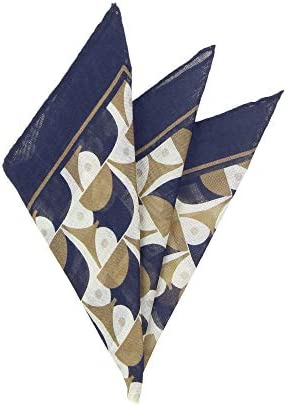 (ザ・スーツカンパニー) MADE IN ITALY/ジオメトリックプリント ウールシルクポケットチーフ ブラウン×ネイビー×クリーム