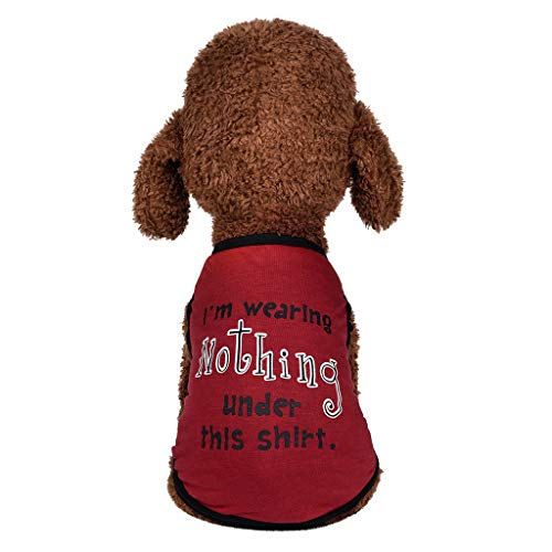 Kimanli Dog Clothes, Dog Cat Pet Vest Nothing Style Summer Breathable Leisure Pet Thin Clothing (L, Red) ()
