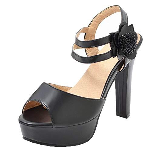 Haut Unie Talon Sandales Noir AgooLar à Velcro GMBLB015434 Couleur Femme XFqOZty7w