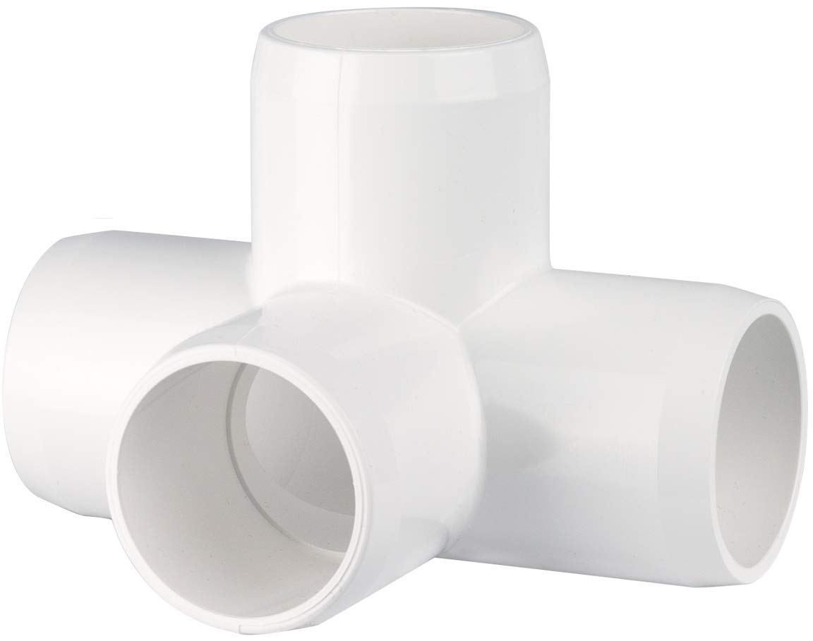 "CIRCOPACK 2 pieces 1"" PVC 4-way LT Tee Fitting Connectors Furniture Grade"