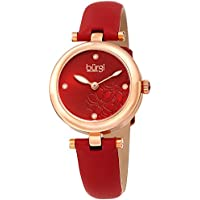 Burgi Women's BUR197RD Diamond Accented Flower Dial Rose Gold & Red Leather Strap Watch