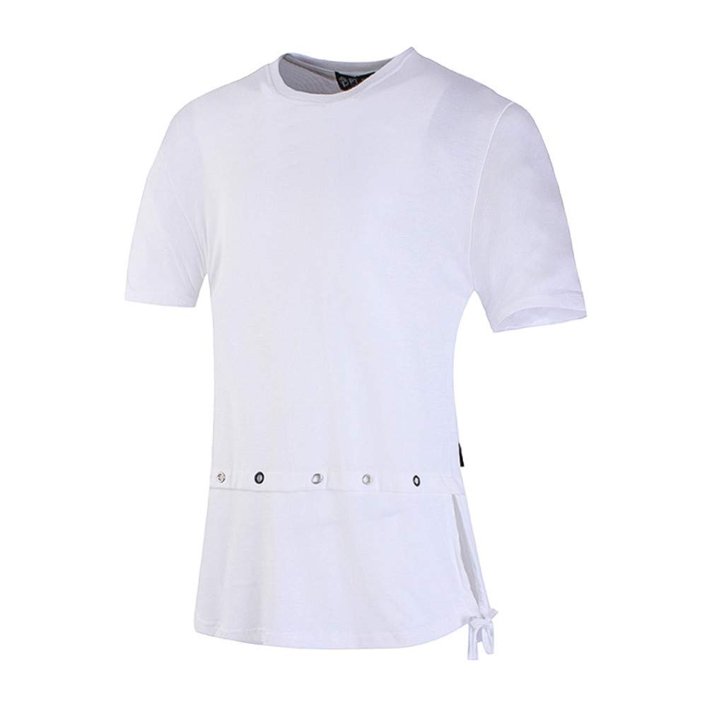 Camisa de Color sólido de Hip Hop de la Moda de los Hombres Camisa de Manga Corta Casual de la Manga del O-Top por Internet.: Amazon.es: Ropa y accesorios