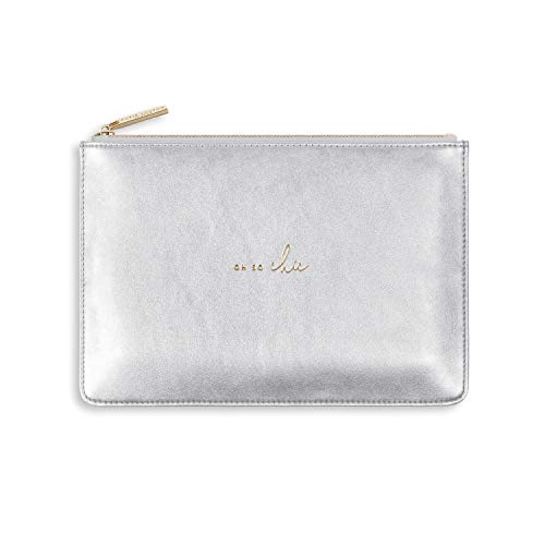 Katie Loxton Perfect Pouch Oh So Chic Metallic Silver Women's Faux Leather Clutch Perfect Pouch ()