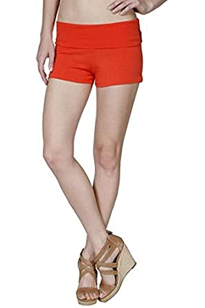 Active Basic Dance or Yoga Fold Down Hot Shorts Lots of Colors! RED-Ribbon Red S