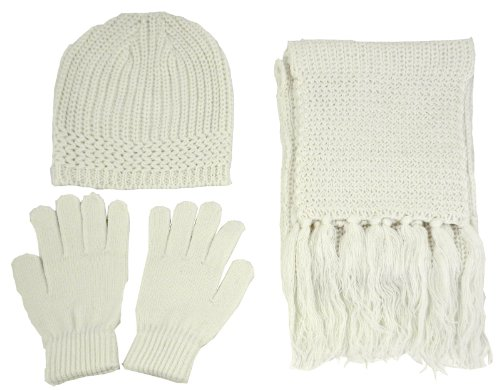 Simplicity Unisex Beanie Gloves Scarf Cold Weather Matching Set Solid Color, Ivory