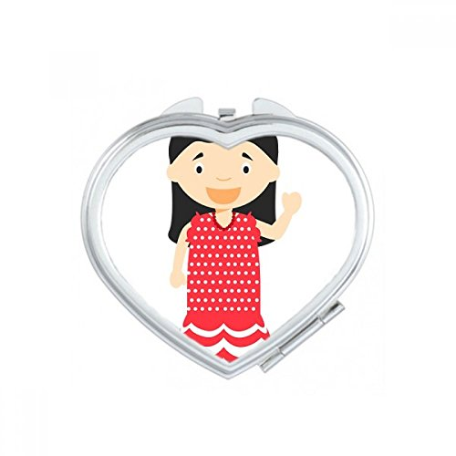 DIYthinker Flower Red Dress Spain Cartoon Heart Compact Makeup Pocket Mirror Portable Cute Small Hand Mirrors Gift by DIYthinker
