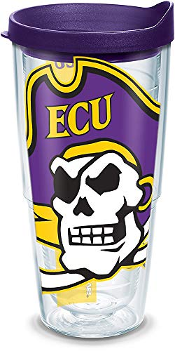 Tervis 1143318 East Carolina Pirates Mascot Colossal Tumbler with Wrap and Royal Purple Lid 24oz, Clear
