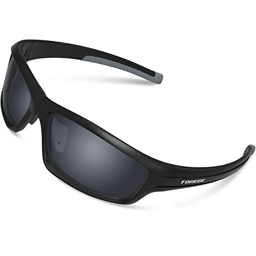 TOREGE Polarized Sports Sunglasses for Man Women Cycling Running Fishing Golf TR90 Unbreakable Frame TR034 (Black&Gray Tips&Gray Lens)…