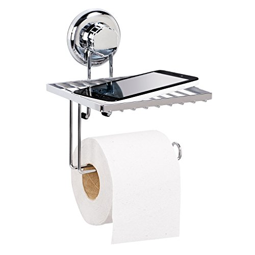 Tatkraft MegaLock Toilettenpapierhalter mit Ablage Saugnapf Stahl Verchromt 15X15X19.5 cm