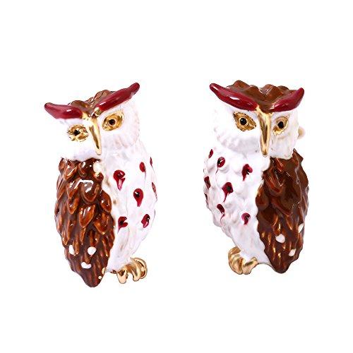 Ladies Exquisite Enamel Owl, Sterling Silver Stud Earrings for Women, Vintage Real -
