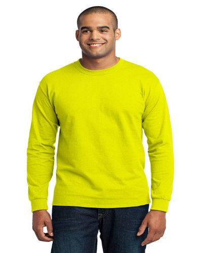 Port & Company PC55LS Long Sleeve T-Shirt, Safety Green, X-Large ()