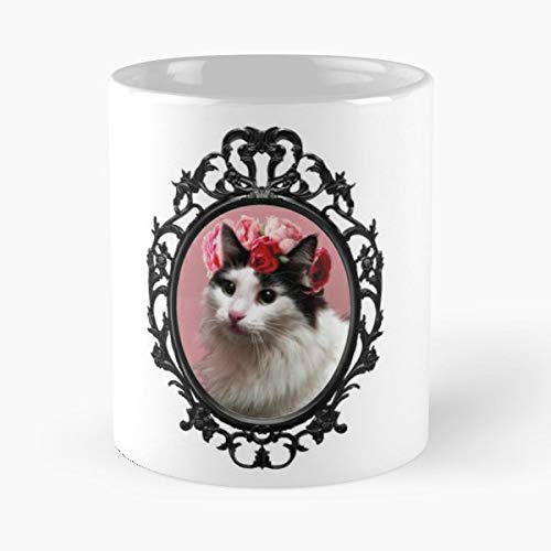 Cat Kitty Black And White - Coffee Mugs Unique Ceramic Novelty Cup For Holiday Days 11 Oz.
