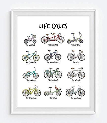 [해외]라이프 사이클-자전거 자전거 차트 일러스트 아트 프린트 화이트 프레임 없는 자전거 자전거 벽 예술 장식 포스터 기호 영감 선물 모든 크기 / Life Cycles - Bicycle Bike Chart illustration ART PRINT white UNFRAMED Cycling Biking Wall art de...