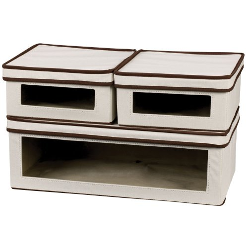 Household Essentials 510-3 Vision Storage Boxes with Lids | 3 Piece Set | Natural Canvas with Brown Trim