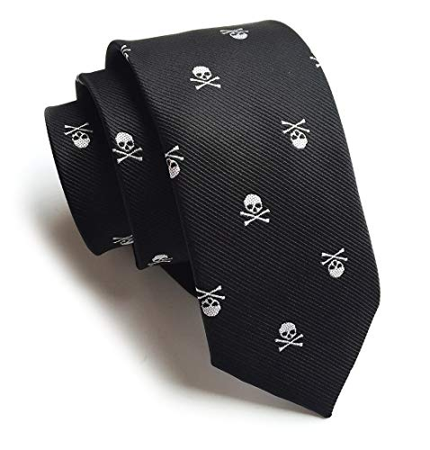(Necktie for Men Skinny Silk Tie Repp White Skull Black Jacquard Woven Necktie KL01 )