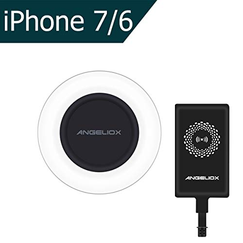 ANGELIOX Fast Wireless Charger Charging Pad with Qi iPhone Wireless Charging Receiver Patch for iPhone 7/7 Plus/6S Plus/6 Plus/6S/6/5S/5/5C/SE (Included A Qi Receiver)