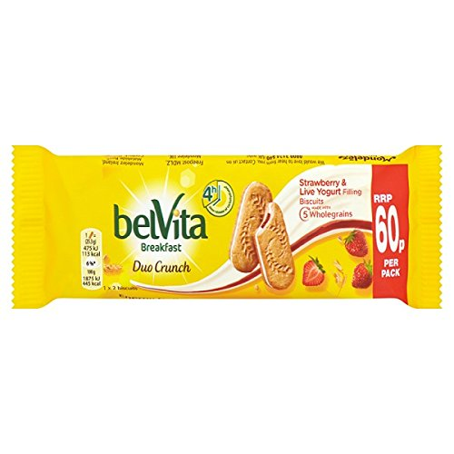 Belvita Breakfast Biscuits Duo Crunch Strawberry and Live Yogurt 60p 50.6g (Pack of 18 x 50g)