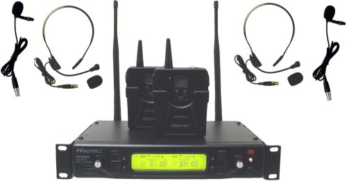 Hisonic HSU482L 48-Channel Dual UHF Wireless Headset Microphone System by Hisonic