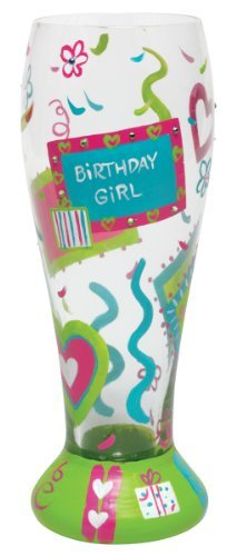 Lolita Hand Painted Pilsner Glass, Birthday Girl Too by Santa Barbara Design Studio (Pilsner Birthday Girl)