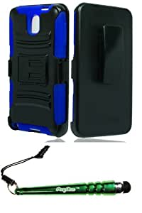 (XL)Samsung N9005 Galaxy Note 3 Hybrid H Stand Holster Blue Case Cover Protector Include FoxyCase Stylus cas couverture