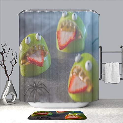 BEICICI Creative Shower Curtain and Bath mat Rug Healthy Halloween Apple Monsters Fruit Kids Treat Custom Stylish,Waterproof, Proof Bathroom Set]()